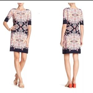 Eliza J gorgeous floral shift dress, midi, EUC